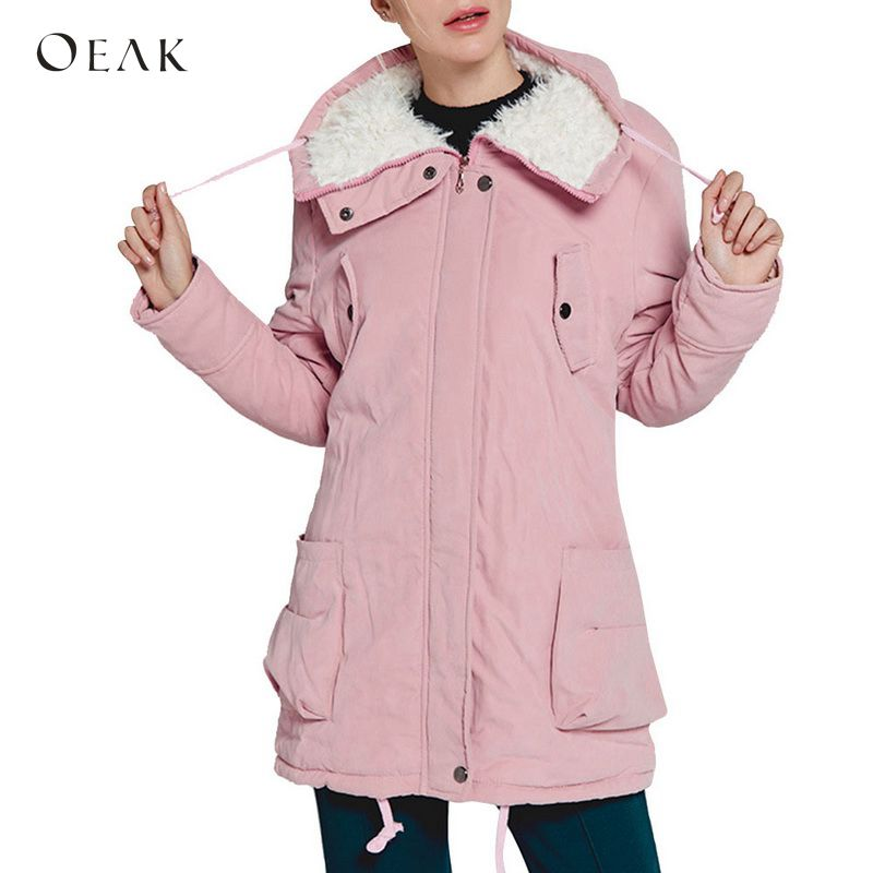 OEAK 2018 Women Winter Thicken Hooded Long   Parkas   Overcoat Cotton Warm Fur Slim Outerwear Female 9 Colors Harajuku   Parkas   Coats