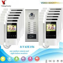 YobangSecurity 4.3Inch Color Villa Video Door Phone Doorbell Entry Intercom System RFID Access Door Camera For 12 Unit Apartment