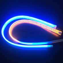 2PCS 60cm Yellow Flowing Running Lights LED DRL Strip Light Flexible Turn Signal Daytime Running Lights For Ford Car-Styling
