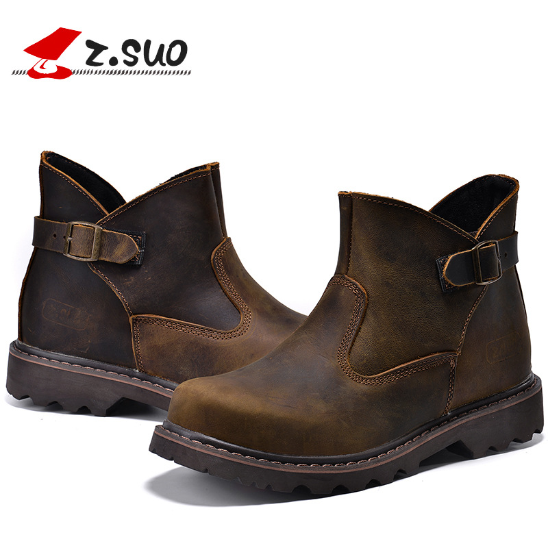 Z. Suo brand mens autumn martin boots vintage buckle design genuine leather boots male crazy horse leather Hiking Shoes