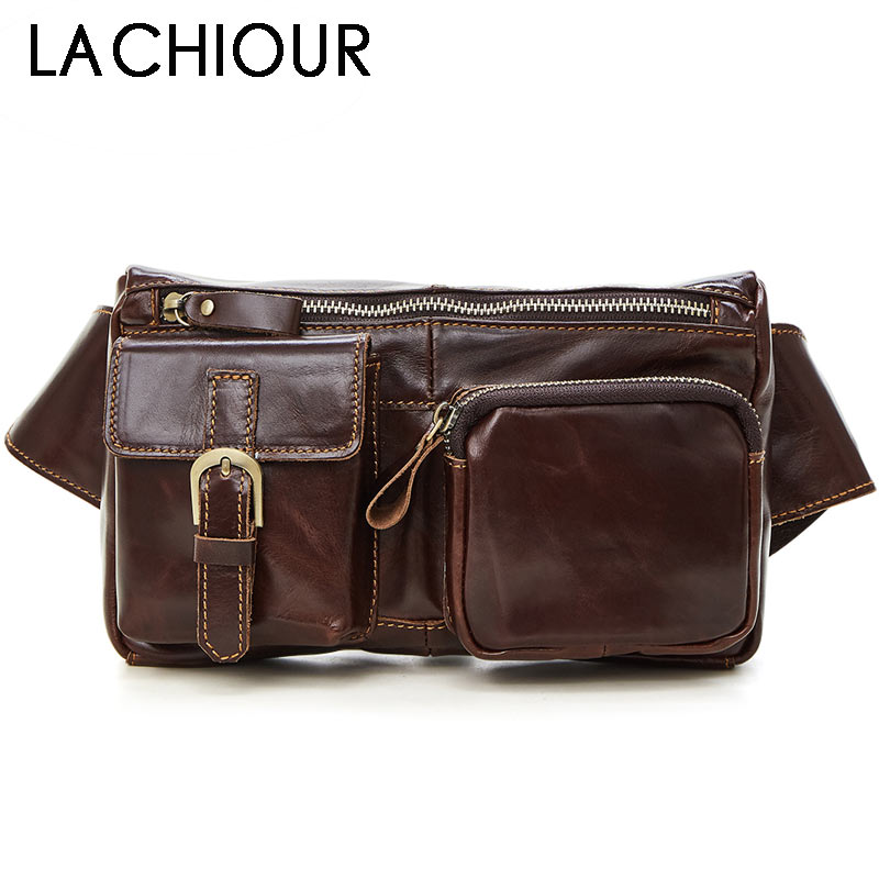 Lachiour Oil Wax Genuine Leather Fanny Bags Brown Phone Pouch Bags Male Small Waist Bag SLeather Pouch