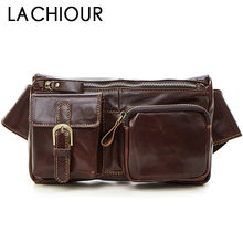 Lachiour Oil Wax Genuine Leather Fanny Bags Brown Phone Pouch Male Small Waist Bag sLeather
