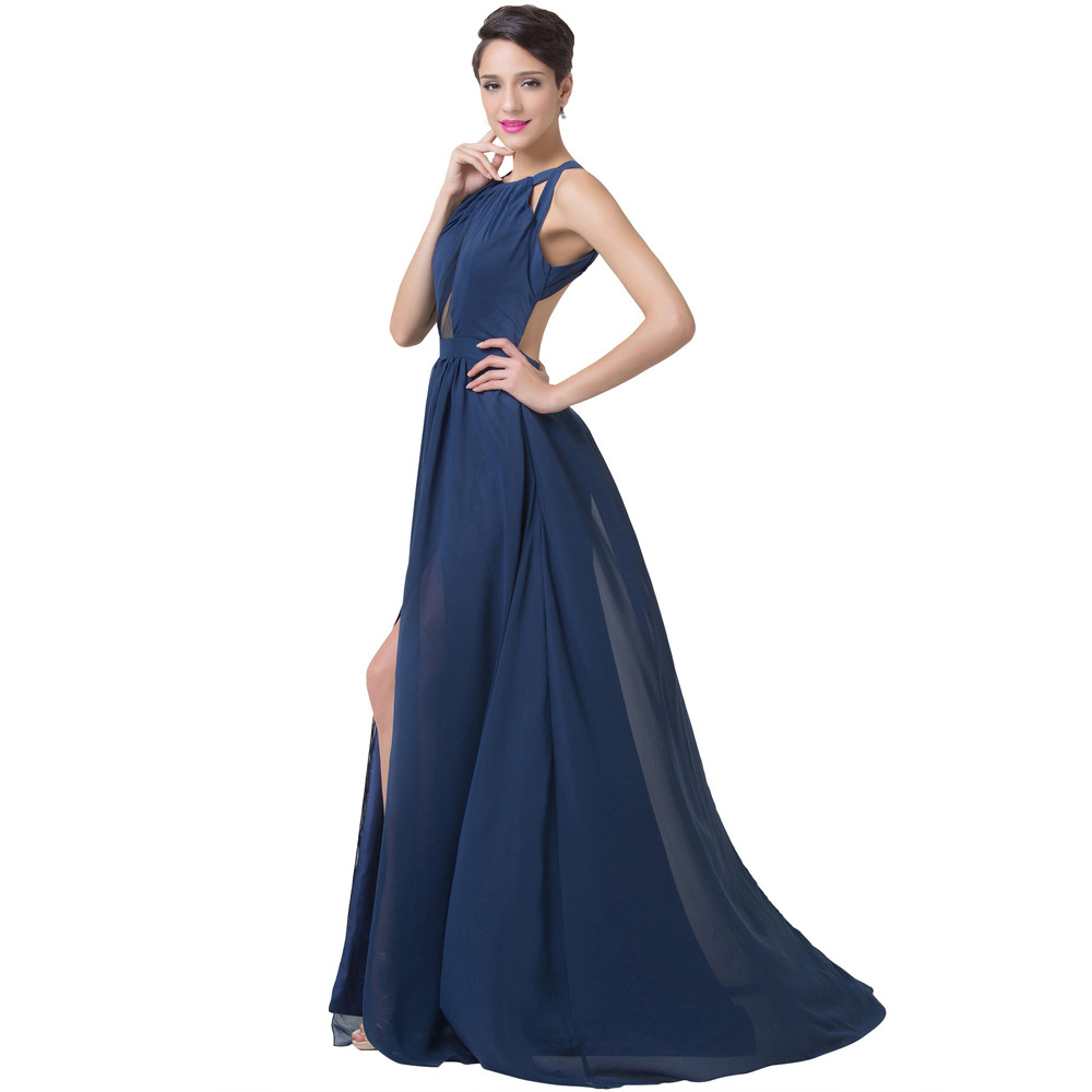 Grace Karin Navy Blue Evening Dress Women Fashion Backless Split Special Long Evening Gown Elegant Special Occasion Dress 2017 9