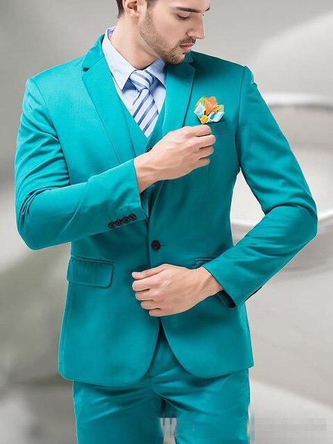 2019 Fashion Green Mens Slim Fit Groom Suits Men Notch Lapel Wedding Tuxedo Stylish Custom Jacket Vest Pants