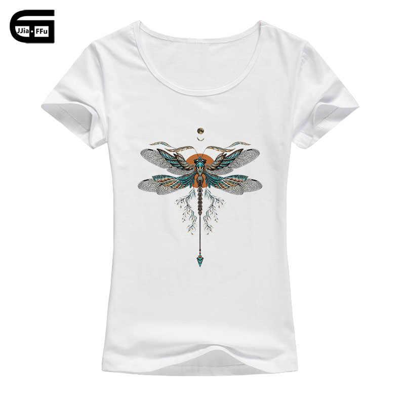 959657d5d26 Mujeres Tops & Tees Camiseta de algodón verano manga corta de dibujos  animados insectos libélula impresión