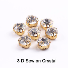 3D Round Shape Glass Rhinestones With Silver/gold Claw Sew On Crystal Stone Strass Diamond Metal Base Buckle For Clothes drop shape glass rhinestones with claw crystal ab sew on crystal stone strass diamond metal base buckle wedding decoration