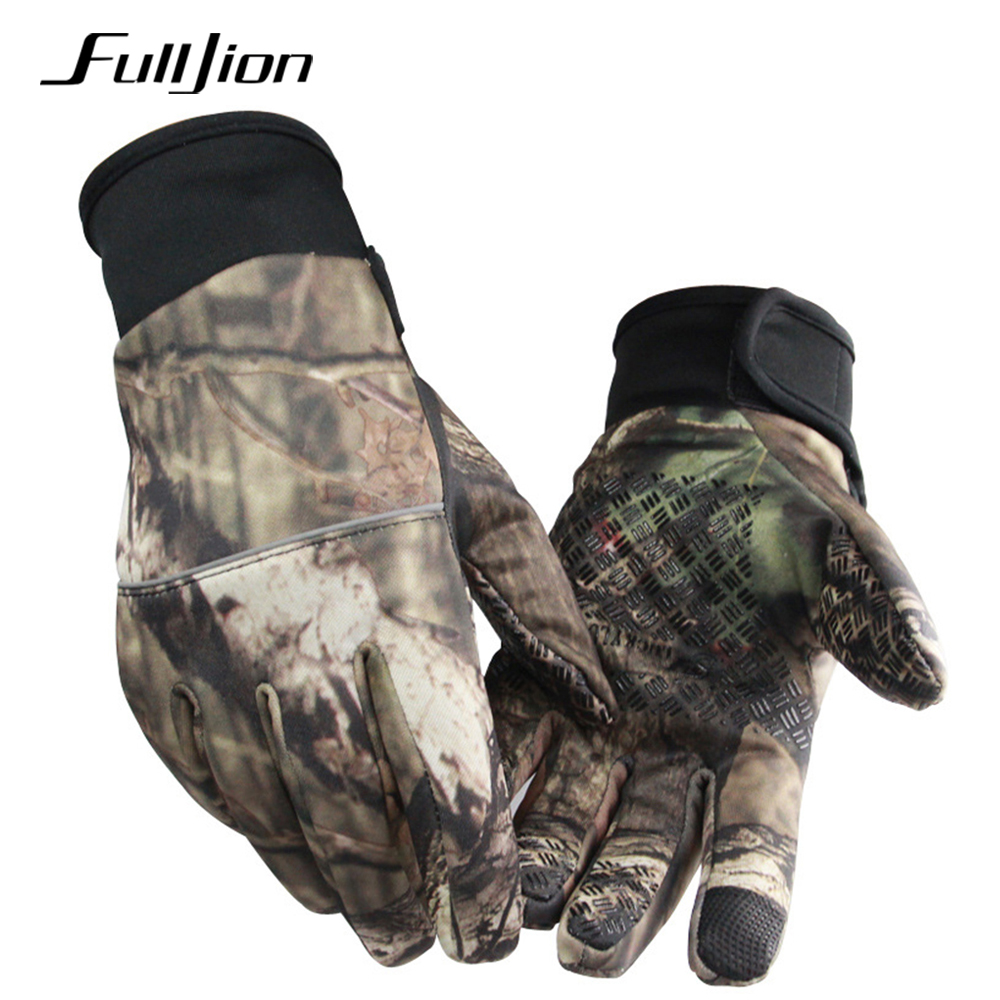 Fulljion Fishing Gloves Touch Screen Winter Warmth Camouflage Anti-Slip Anti-Cut Durable Outdoor Sport Fishing Equipment 1 Pair