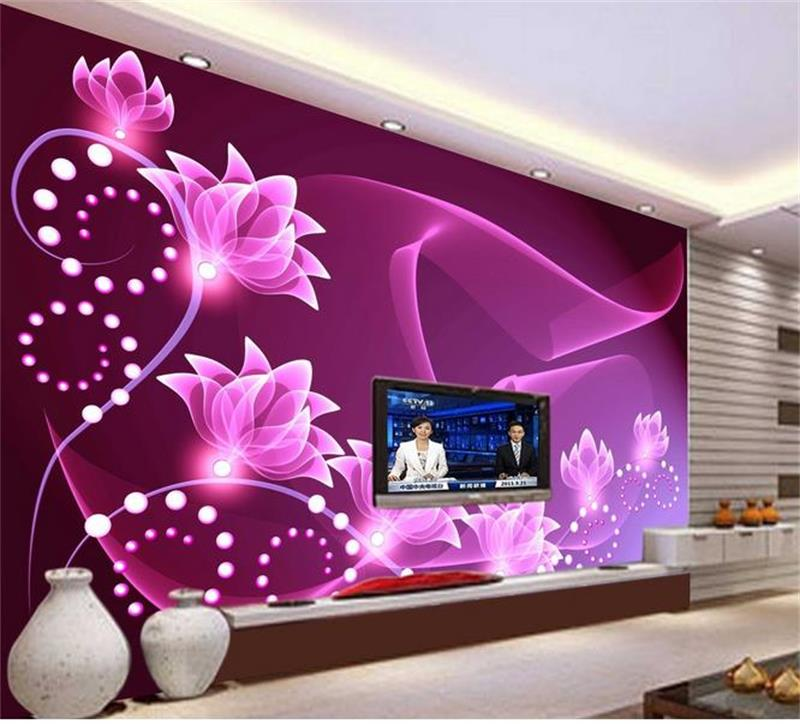 3D wallpaper/custom 3d murals/photo wallpaper/Purple romantic flowers photo/c0231/TV/sofa/bedding room/KTV/bar/Hotel/ custom 3d murals new york at night with reflection in water city wallpaper living room sofa tv wall bedroom bar ktv 3d murals