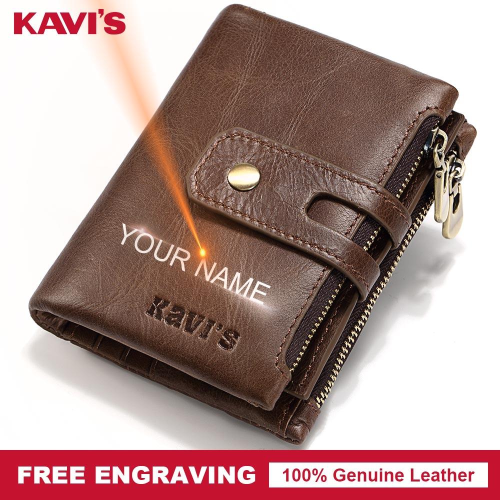 KAVIS Free Engraving Vintage Genuine Leather Wallet Men PORTFOLIO Gift Male Cudan Portomonee Perse Coin Purse Pocket Slim Bag