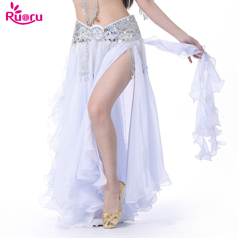 Ruoru New Belly Dancing Clothing Long Maxi Skirts Lady Belly Dance Skirts Women Sexy Oriental Belly Dance Skirt Professiona