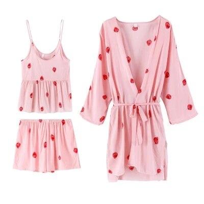 Daeyard Women Silk   Pajama     Set   Sexy Lingerie Flora Cami Top+Trousers+Robe 3Pcs Satin   Pajamas   Lace Sleepwear Nightie Femme Pijamas