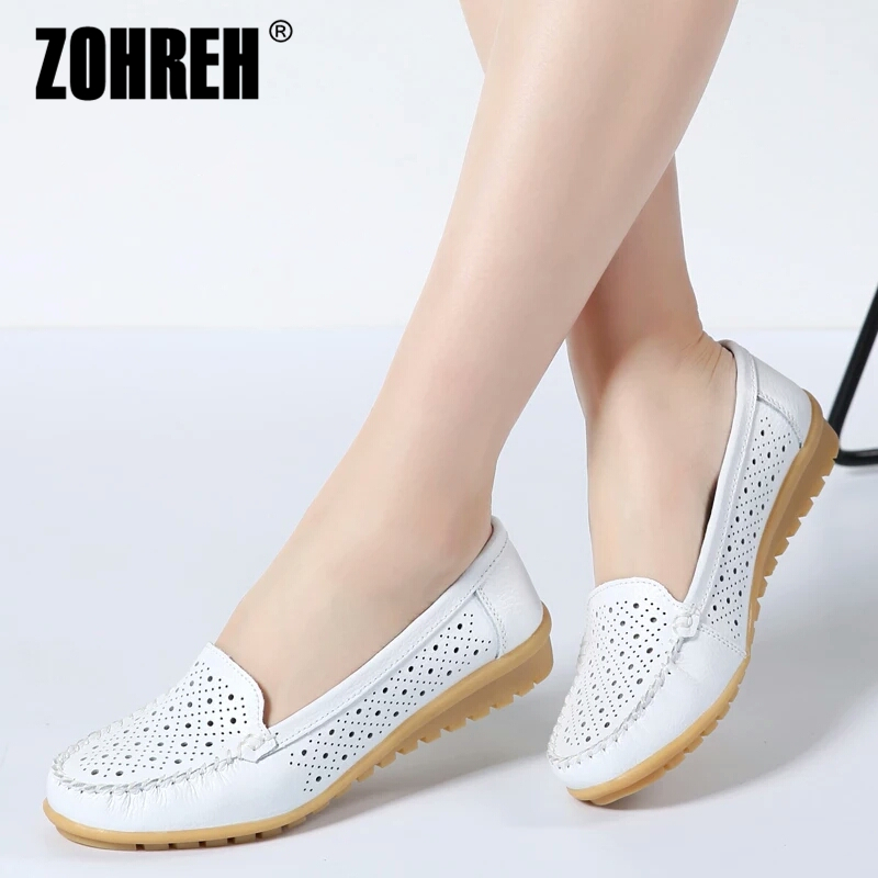 Autumn Women Flats Shoes Women Genuine Leather Shoes Woman Cutout Loafers Slip On Ballet Flats Ballerines Flats Moccasins Big Si(China)