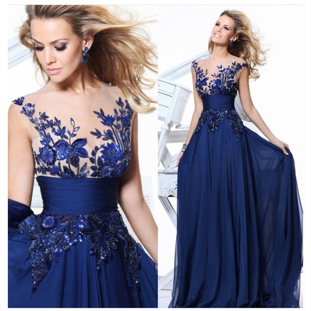 SZDH1503B 2017 spring summer new blue lace embroidery perspective halter Bridesmaid  Dresses bride dinner party host prom dress 866a41749782