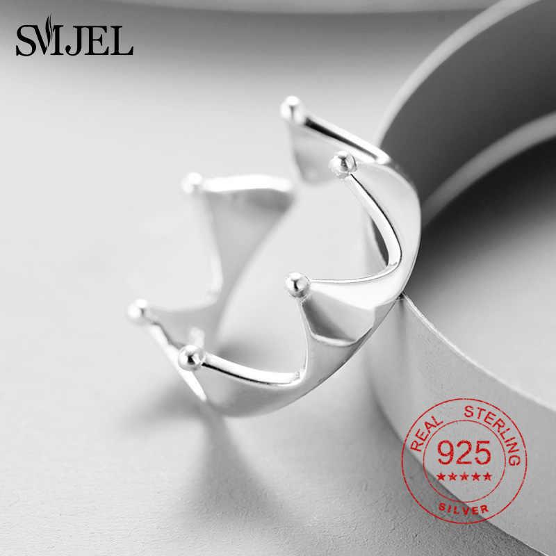 Smjel Tiara Putri dan Mahkota Cincin 925 Sterling Silver Ring UNTUK ANAK Gadis Kekasih Bridal Prom Mahkota Pesta Wedding