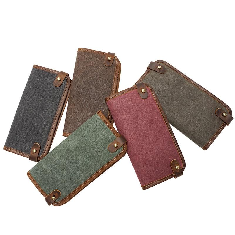 Vintage Canvas Wallets Handmade Retro Multipurpose Phone Wallet Long Wallet Male Canvas Vintage Wallet