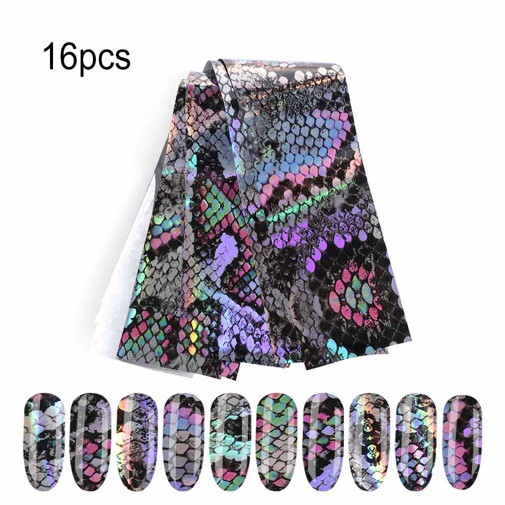 16pc 20*4cm Supplies Nails Art Transfer Foil Stickers Nail Adhesives Snake Skin Design Laser Holographic Nail Decorations Decals