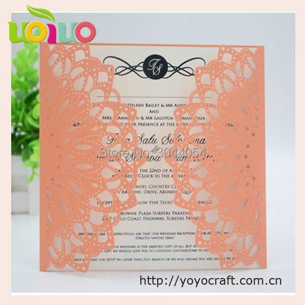 Heißer Verkauf Orange Gelb Spitze Phantasie Hochzeitskarten Neupreis  Hochzeit Birday Tag Party Einladungskarten 3d Grußkarten