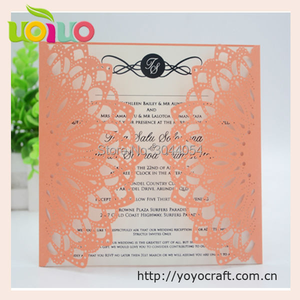 hot sell orange yellow lace fancy wedding cards factory