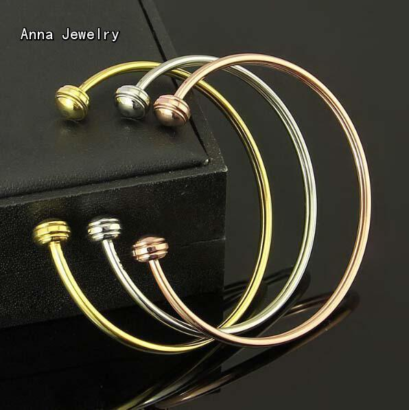 2016 Anna Jewelry New Presents Round Head Cuff Bracelet,Fashion Bracelet with 2 Movement Heads,3 Gold Colors Available For Women