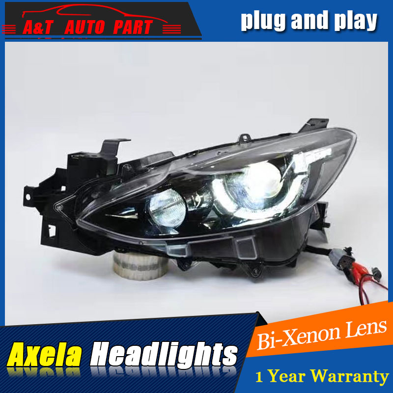 Auto Part Style LED Head Lamp for Mazda 3 led headlights 2014 FOR Axela drl H7 hid Bi-Xenon Lens low beam auto lighting style led head lamp for toyota yaris l led headlights 2014 2016 double u led hid kit bi xenon lens low beam