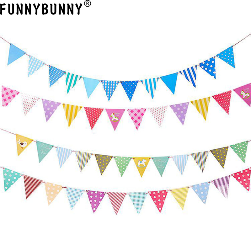FUNNYBUNNY  cute birthday bunting pull flower flag pennant decoration decorative banners