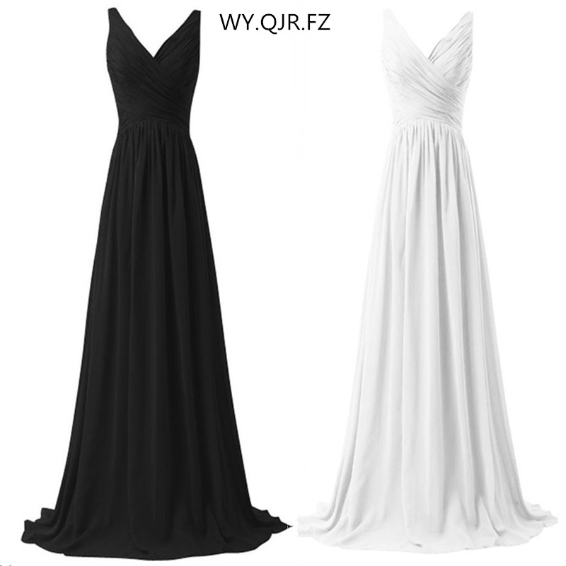 LLY1130B V neck Spaghetti Straps Long Lace up white black Bridesmaid Dresses wedding party prom dress