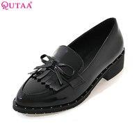 QUTAA 2017 펌프 여성 신발 광장 낮은 뒤꿈치 뾰족한 발가락 PU 특허