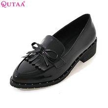 QUTAA 2017 Mujeres Bombas Zapato de Las Señoras Cuadrados de Tacón Bajo Punta estrecha corbata de Lazo de La Borla de Cuero de Patente de LA PU Mujer de La Boda Zapatos Tamaño 34-43