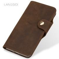 LANGSIDI Crazy horse Flip Wallets case For Xiaomi Mi 6 8 SE A2 Mix 2 9se Genuine Leather Flip cover fundas button Lanyard cover