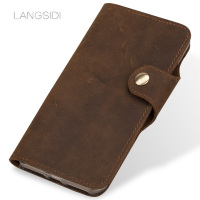 LANGSIDI Crazy horse Flip Wallets case For Xiaomi Mi 6 8 SE A2 Mix 2 9se Genuine Leather Flip cover fundas button Lanyard cover