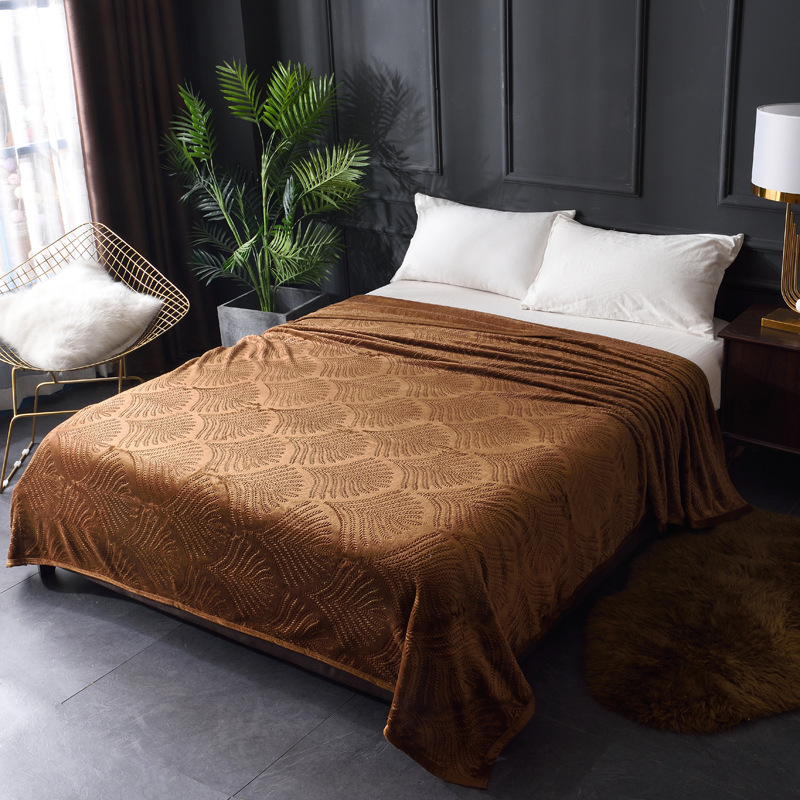 Image 2 - Embossed Coral Fleece Flannel Blankets For Beds 300GSM 8 Solid Summer Throw Winter Sofa Cover Bedspread Warm Blankets-in Blankets from Home & Garden