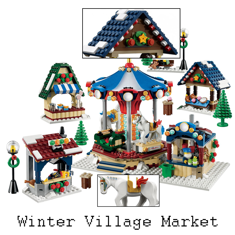 Lepin 36010 Creator Winter Village Market 1412PCS Building Blocks Bricks Educational Toys for Children Christmas Gifts 10235 decool 3117 city creator 3in1 vacation getaways building block 613pcs diy educational toys for children compatible legoe