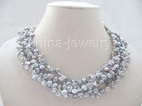 18 5row gray Reborn Keshi freshwater pearl necklace white GP magnet