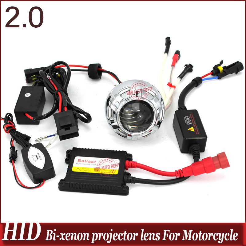 2.0 inch Alunimum High/low Projector Lens For Motor Headlight With Ballast Angel/devil Eye Motorcycle Hid Xenon ConversionKit led projector lens headlight with ballast 35w 5500k 3 inch projector lens led car