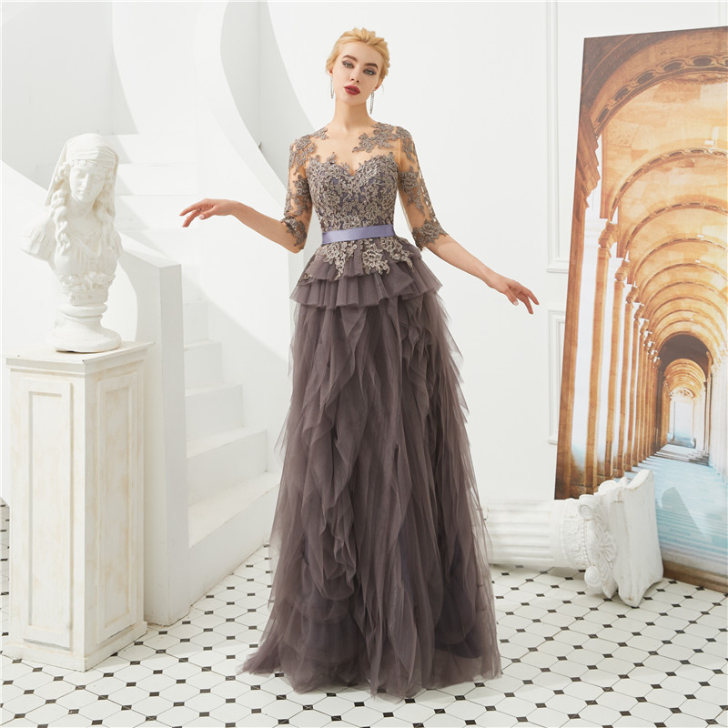 High Quality Tassles O-Neck Long Evening  Dresses Tulle A-Line Prom Party Dresses Appliques Tiered Vestido Longo robe de soiree