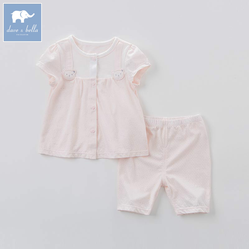 DB7568 dave bella summer baby girls pink clothing sets children infant toddler suit kids high quality clothes