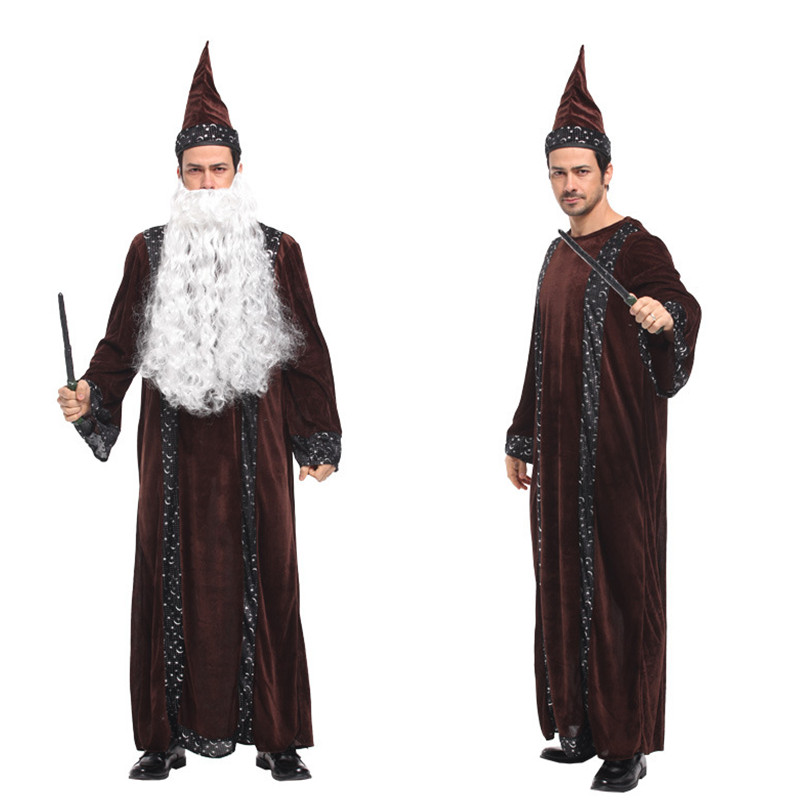 Men Master Magician Robe Costume Halloween wizard Cosplay Magic gown Carnival Purim Christmas Masquerade Stage performance dress