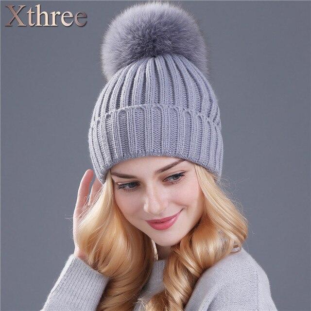 Xthree натуральный мех лисы pom poms мяч согреться зимняя шапка для девушки женщин шерсть шляпа вязаные шапочки крышка толстая женщина cap