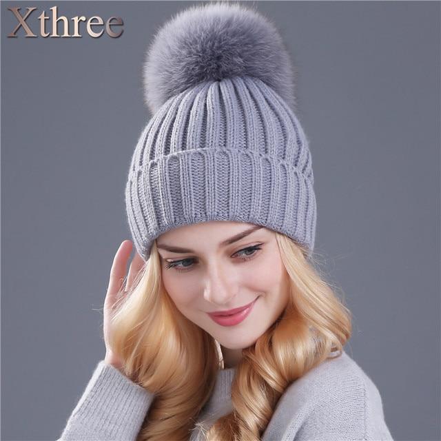 e0037637d0d35 Xthree real fox fur pom poms ball Keep warm winter hat for women girl  s