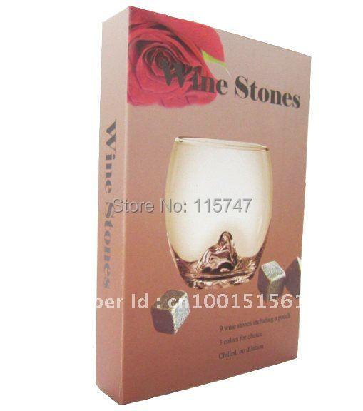 Vánoční dárek whisky kameny v delcate dárkové krabičce, 100sets / lot, víno popíjení kamenné ledové skály, den svatého Valentýna
