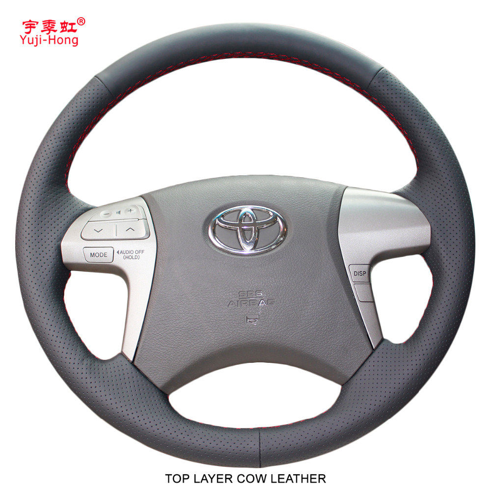 Yuji Hong Car Steering Covers Case for Toyota Highlander 2009 2013 Camry 2009 2011 Fortuner 2015 Top Layer Cow Leather Cover-in Steering Covers from Automobiles & Motorcycles    1