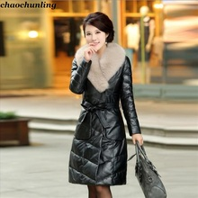 England 2017 New Winter Jacket 100% Leather High-End Fashion And Sexy Women Thick Coats Thermal Super Waterproof Warm With Belt