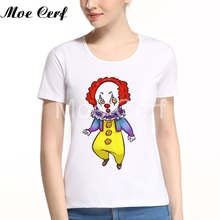 Cute Pennywise Dancing Clown It Tee Shirt Women's Long Sleeve Round Neck Cotton Leisure Girl Teen Hot Movies Tops L5-101