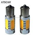 Las luces del coche, 2x Super brillante blanco amarillo rojo 7.5 W LED SMD 1156 Ba15s S25 P21W reversa bombilla externa