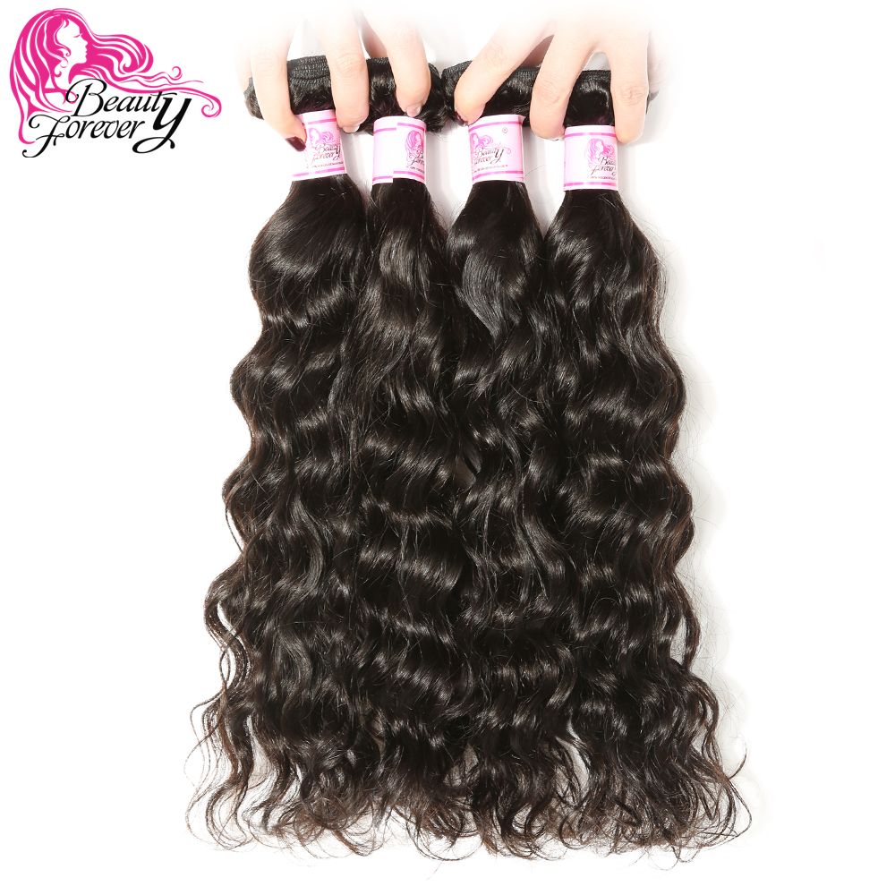 BEAUTY FOREVER 4 Bundles Peruvian Human Hair Weaves Natural Wave 100 Remy Hair Extensions Natural Color