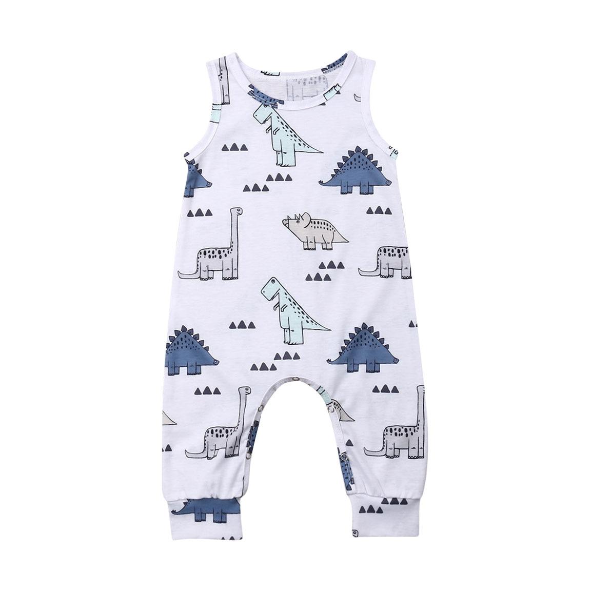 One Piece Newborn Kids Baby Boy Girl Dinosaur Print Sleeveless   Romper   Summer Clothes Outfits Jumpsuit