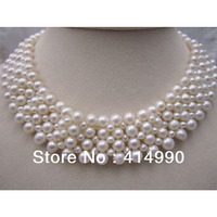 Wide Pearl Necklace Wedding Dinner Covering Postoperative Scar Etc The Bride Necklace Woven Natural Pearl Necklace