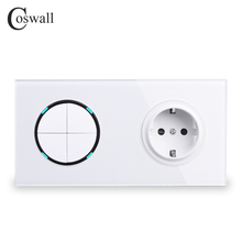 Coswall painel de vidro branco padrão da ue tomada de parede + 4 gang 2 vias ligar/desligar passar através do interruptor de luz comutado indicador led