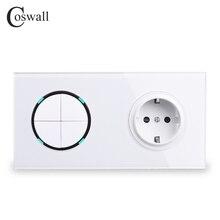 Coswall panneau de verre blanc ue Standard prise de courant murale + 4 Gang 2 voies marche/arrêt passer par interrupteur de lumière commuté indicateur LED