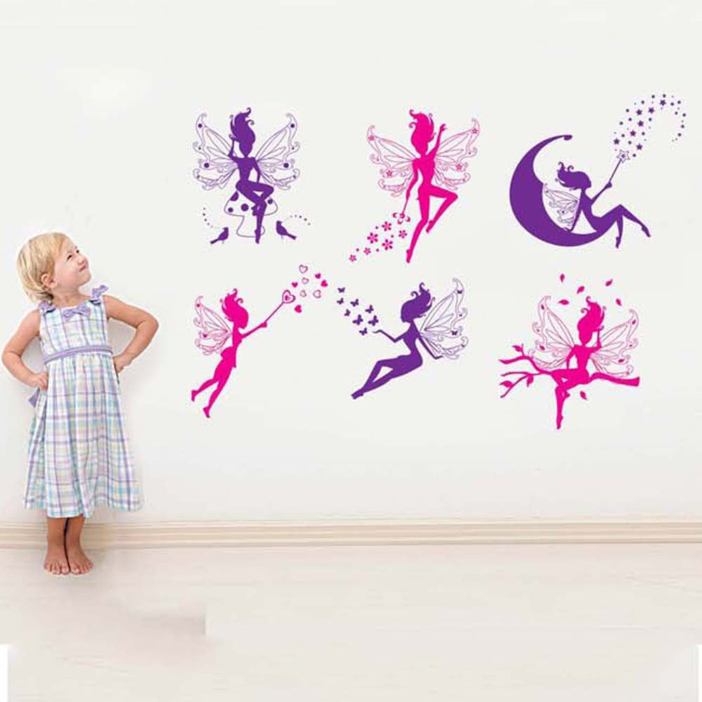 6 pink purple fairy silhouette wall sticker decal home deco free 6 pink purple fairy silhouette wall sticker decal home deco free shipping in wall stickers from home garden on aliexpress alibaba group amipublicfo Image collections